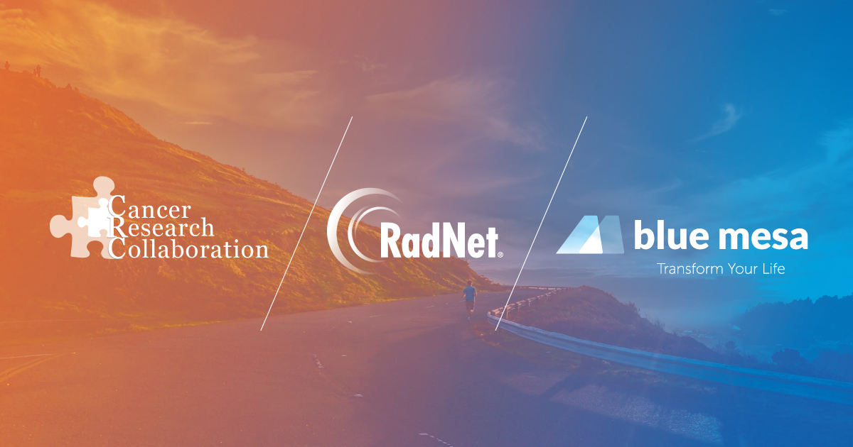 Banner image with RadNet, Cancer Research Collaboration, Blue Mesa logos